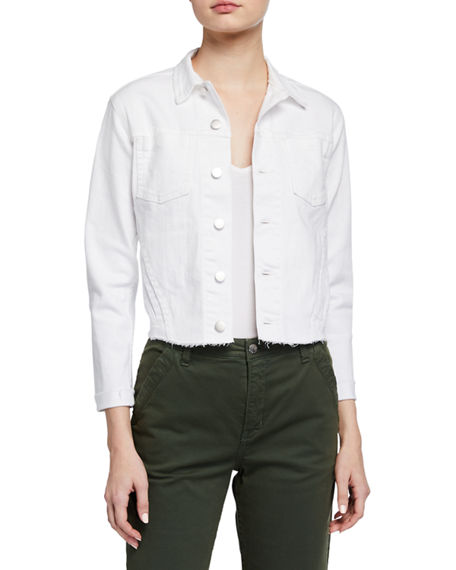 L'Agence Janelle Slim Cropped Jean Jacket with Raw Hem