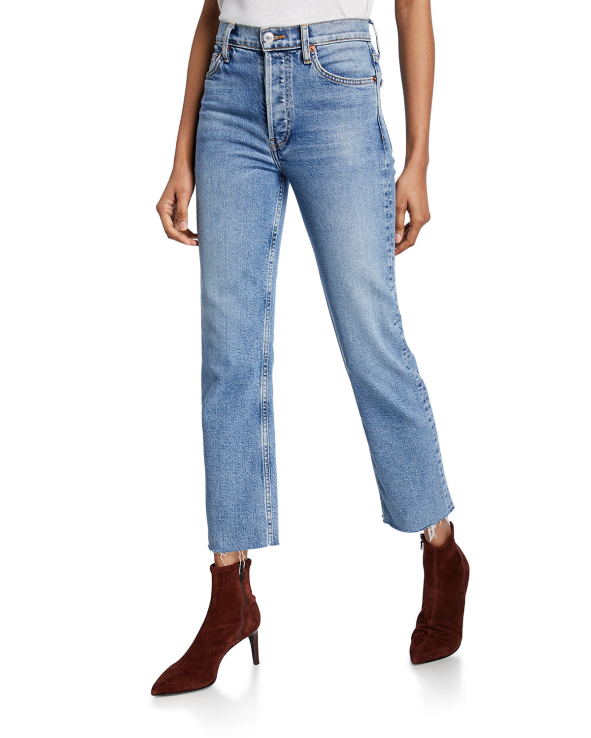 Re/done Jeans HIGH-RISE STOVEPIPE JEANS WITH RAW-EDGE HEM