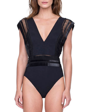 2a6f1d7ae60b7 Gottex Aura Deep V One-Piece Swimsuit