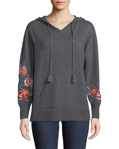 Amira Cashmere Embroidered-Sleeve Hoodie