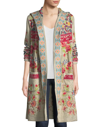 Breiliha Hooded Embroidered Duster Jacket