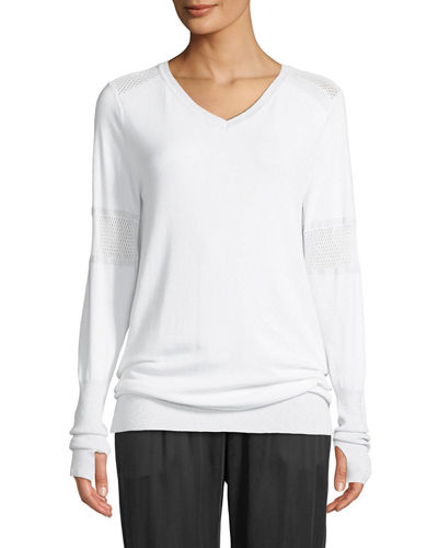 Spirit Mesh-Insert V-Neck Pullover Sweater