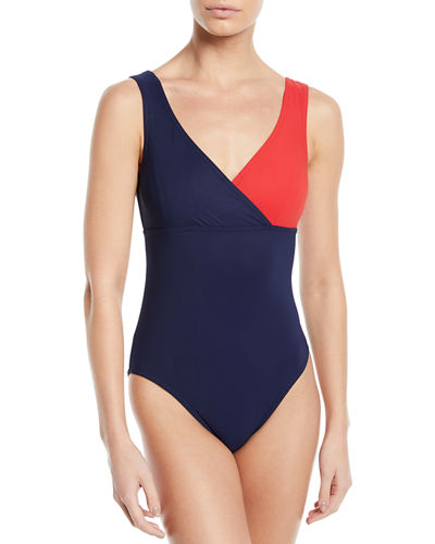 Karla Colletto Helene Surplice Colorblock One-Piece Swimsuit