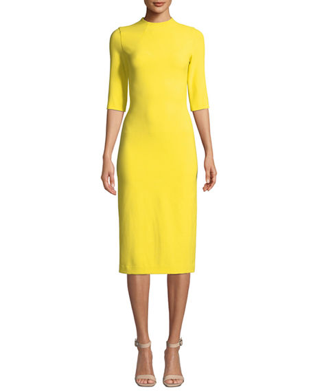 Alice + Olivia Delora Fitted Mock-Neck Midi Dress