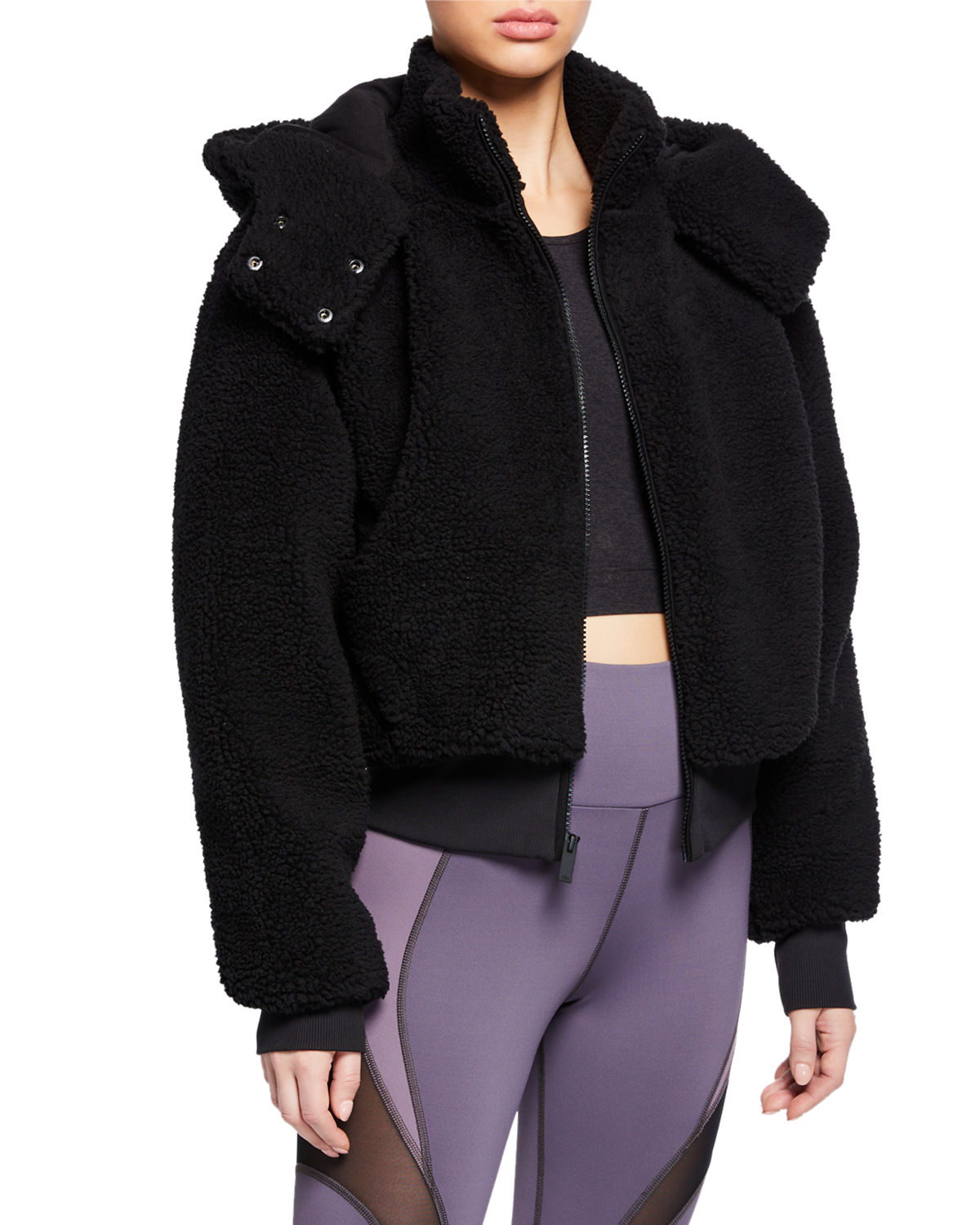1e9913248 Alo Yoga Foxy Sherpa Hooded Active Jacket | Neiman Marcus