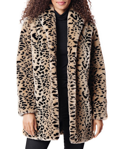 Leopard Faux Fur Shawl Jacket
