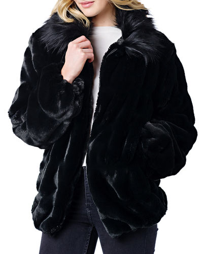 Couture Faux Fur Coat w/ Collar