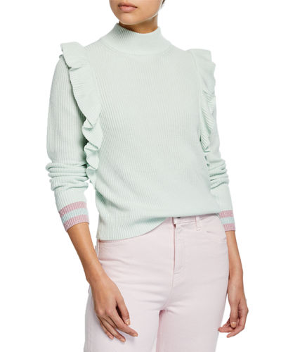 Amico Ruffled Turtleneck Pullover Sweater