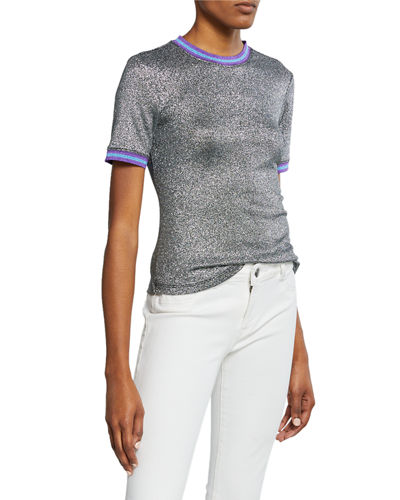 Metallic Racer-Stripe Short-Sleeve Tee