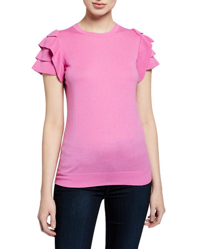 Cashmere-Blend Crewneck Short-Sleeve Ruffle-Shoulder Top