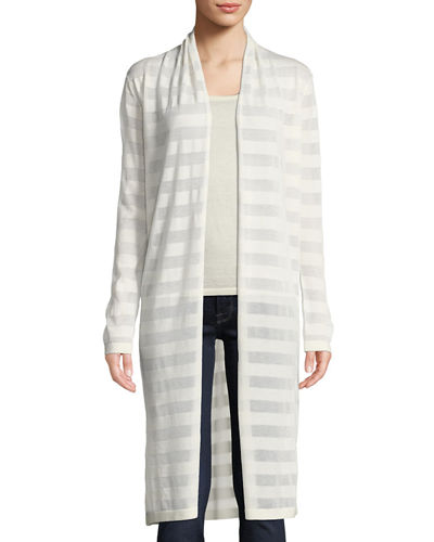 Open-Front Mesh Stripe Cashmere-Blend Duster Cardigan