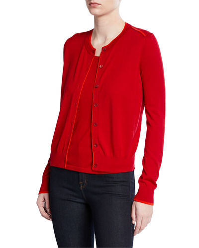 Superfine Button-Front Shrunken Cashmere-Blend Cardigan w/ Contrast Trim