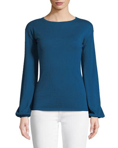 Superfine Cashmere-Blend Boat-Neck Blouson-Sleeve Sweater