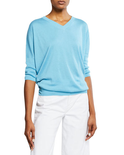 Cashmere-Blend V-Neck 3/4-Sleeve Slim-Fit Top