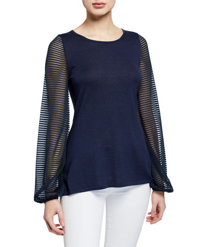 Cashmere-Blend Scoop-Neck Sheer Blouson-Sleeve Slim Fit Top