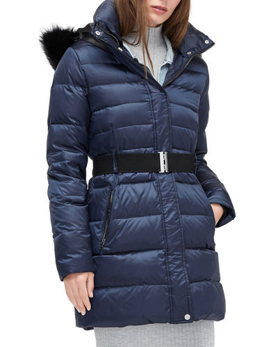 Valerie Belted Down Coat with Toscana Fur Trim