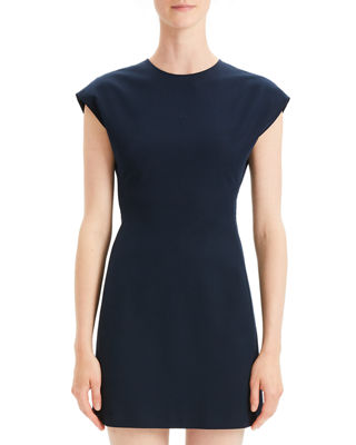 Structured Double Stretch Fitted Short Sleeve Dress by Theory