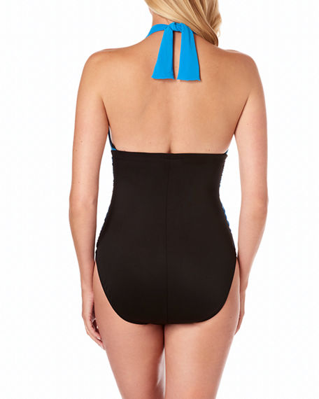 a09b34bea9 Image 2 of 4: Magicsuit Jenn Ruched Colorblock Halter One-Piece Swimsuit