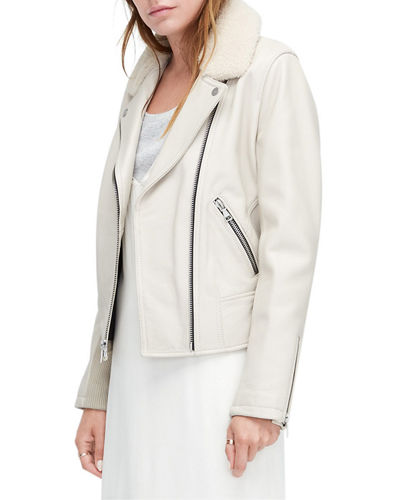 Andee Leather & Shearling Cycle Jacket