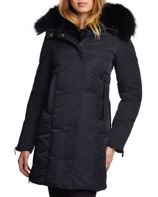 DAWN LEVY Luna Fox-Trim Hooded Zip-Front Parka in Black