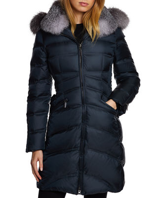 DAWN LEVY Chloe Fox-Fur Trim Corset Puffer Jacket in Sapphire