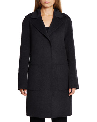 DAWN LEVY Cece Reversible Wool Coat W/ Removable Fur in Black