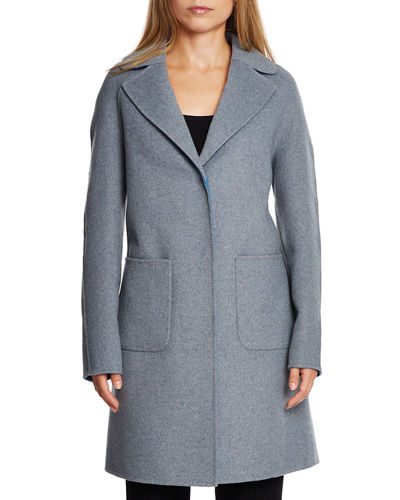 Cece Reversible Wool Coat w/ Removable Fur