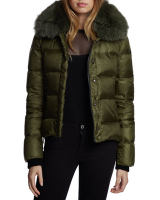 DAWN LEVY Vera Mid-Weight Fox-Fur Trim Puffer Jacket in Leaf Green