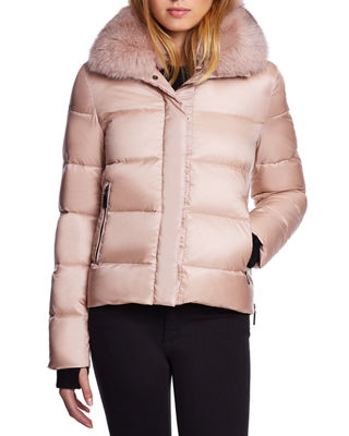 DAWN LEVY Vera Mid-Weight Fox-Fur Trim Puffer Jacket in French Pink