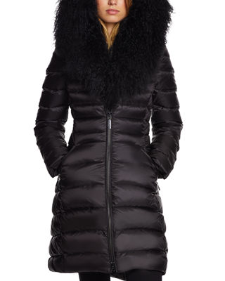 DAWN LEVY Camile Mongolian-Trim Fitted Puffer Jacket in Black