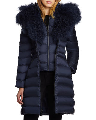 DAWN LEVY Camile Mongolian Sheep Shearling Trim Down Coat in Abyss