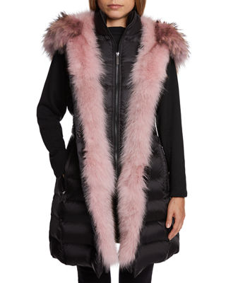 DAWN LEVY Traveler Fox-Fur Trim Vest in Black