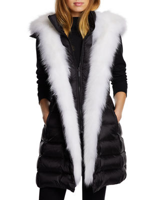 DAWN LEVY Traveler Fox-Fur Trim Vest in Black/White