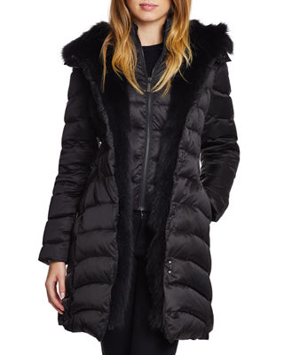 DAWN LEVY Jet Setter Fox-Fur Trim Fitted Puffer Jacket in Black