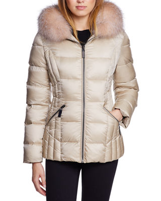 DAWN LEVY Nikki Fox-Fur Trim Mid-Weight Puffer in Pink