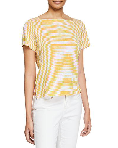 Striped Square-Neck Short-Sleeve Jersey Linen Tee