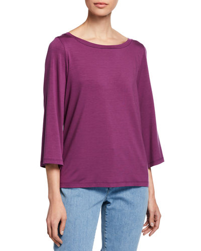 Boat-Neck 3/4-Sleeve High-Low Jersey Top