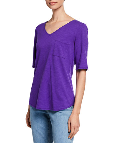 Organic Cotton V-Neck Elbow-Sleeve Slub Jersey Tee