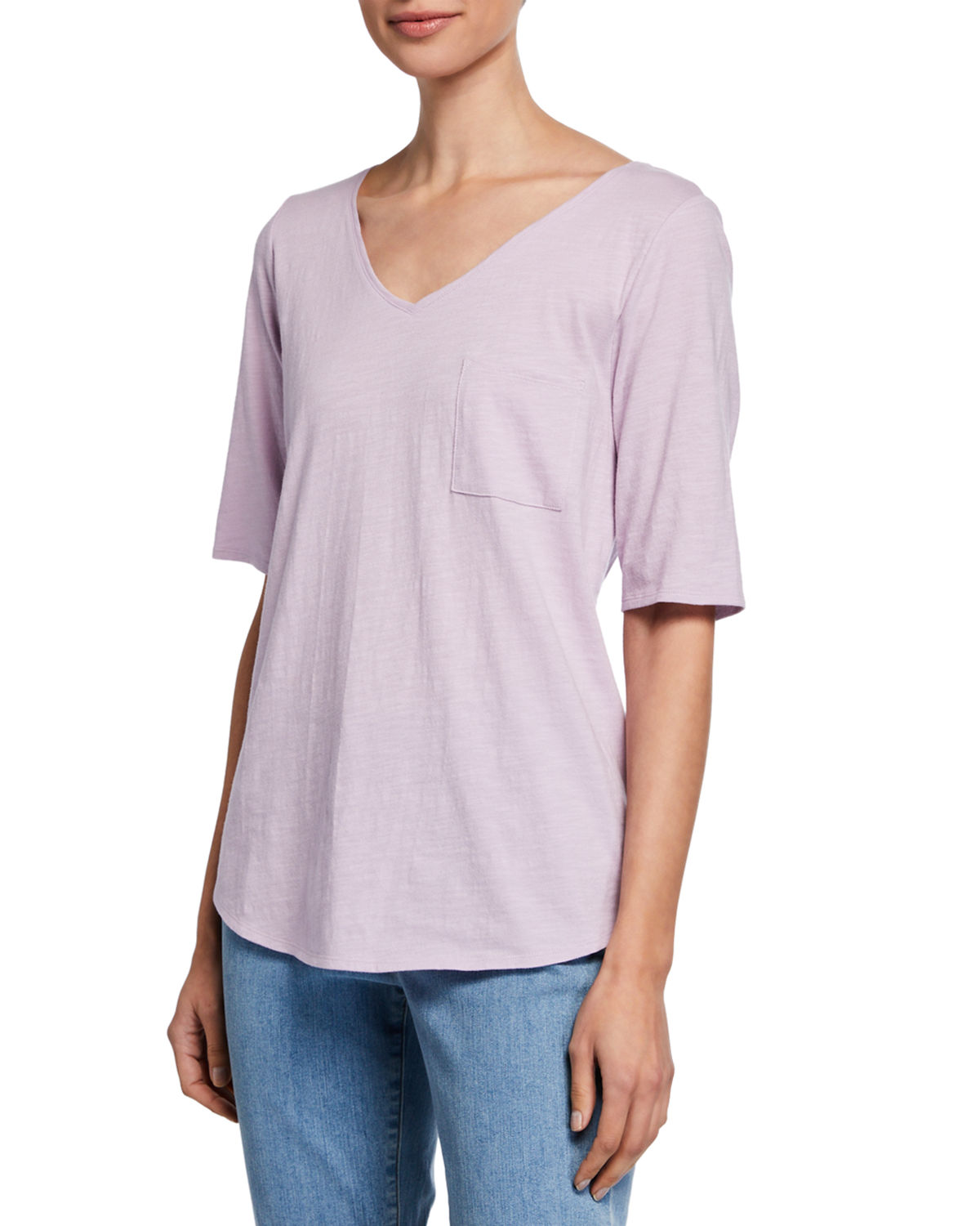 0adaef923d2db Eileen Fisher Plus Size Organic Cotton V-Neck Elbow-Sleeve Slub Jersey Tee  In