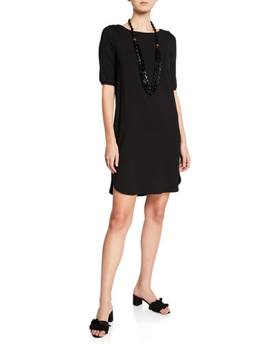 Petite Elbow-Sleeve Shirttail-Hem Jersey Dress