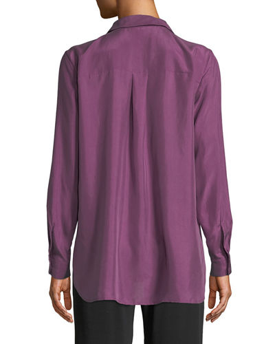 Eileen Fisher Plus Size Washed Silk Habutai Long-Sleeve Button-Front Blouse