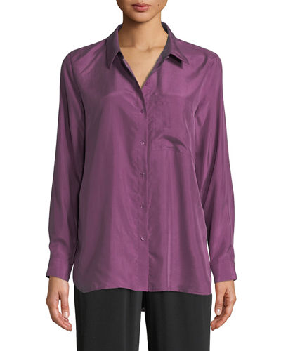 Plus Size Washed Silk Habutai Long-Sleeve Button-Front Blouse