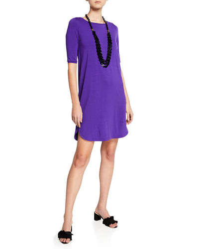 Plus Size Elbow-Sleeve Shirttail-Hem Jersey Dress
