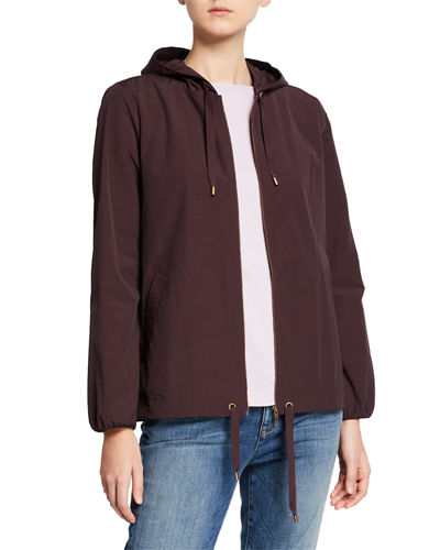 Hooded Zip-Front Long-Sleeve Cotton-Blend Jacket  Petite
