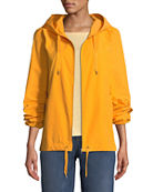 Eileen Fisher Petite Hooded Zip-Front Long-Sleeve Cotton-Blend