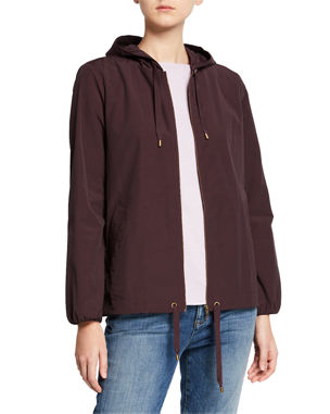 2c3e217ef50e Eileen Fisher Hooded Zip-Front Long-Sleeve Cotton-Blend Jacket