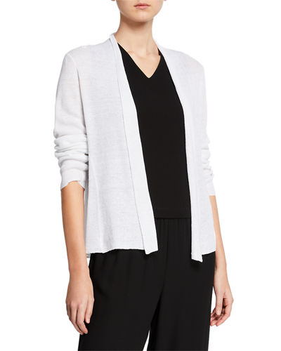 7fb368a33ed Quick Look. Eileen Fisher · Plus Size Open-Front Long-Sleeve Shaped Organic  Linen Cardigan