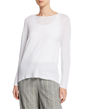 8dc52a42f8 Eileen Fisher Petite Organic Linen Long-Sleeve Tunic