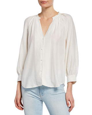 Raglan Sleeve Silk Button Front Top by Frame