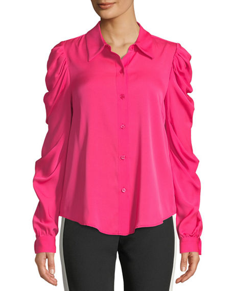 Milly Charlie Ruched-Sleeve Silk Top
